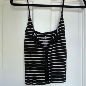 AE cropped black and white button up tank